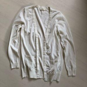 Basic Cream/White Button Up Cardigan